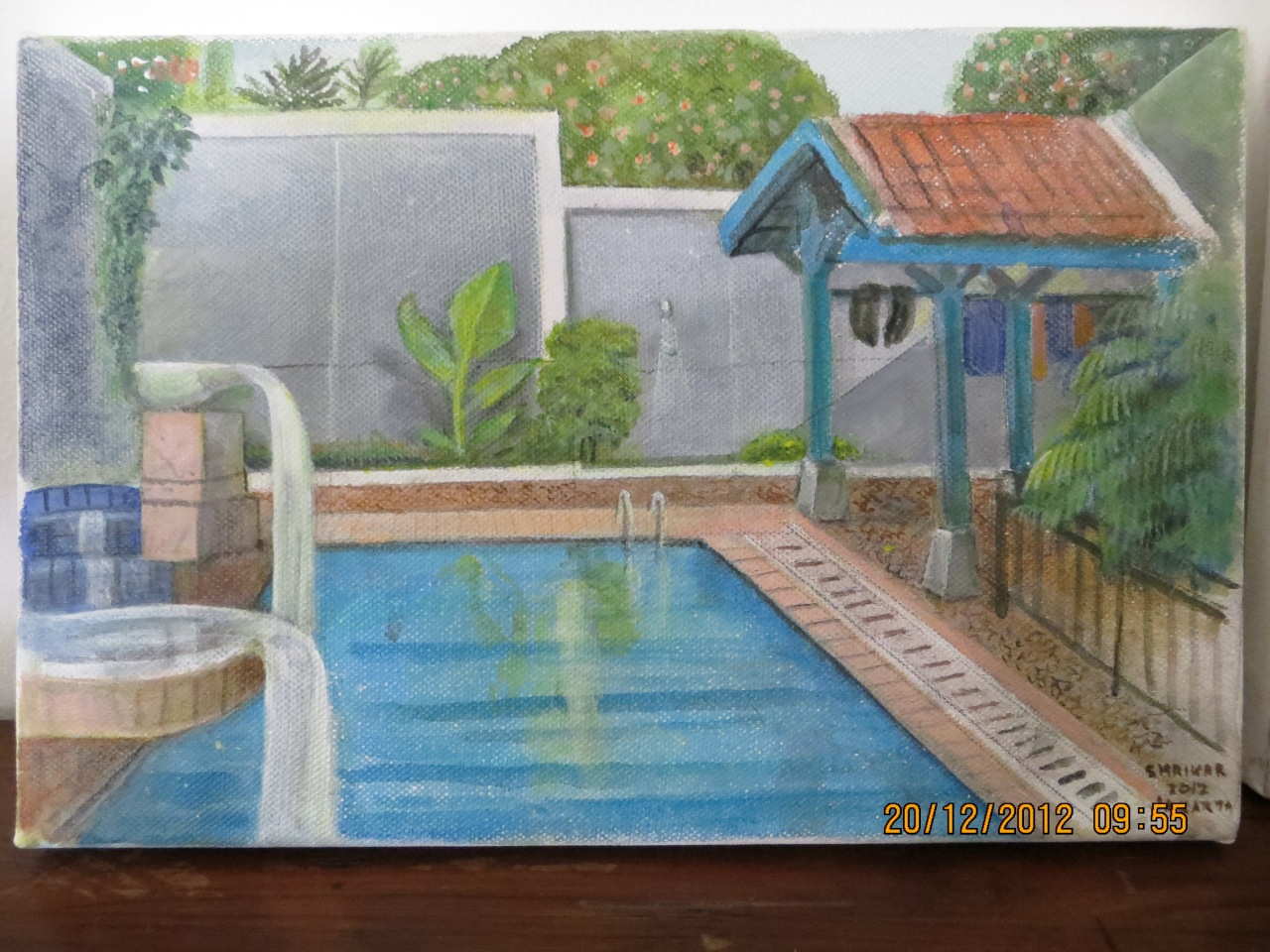 Baba's painting of our pool