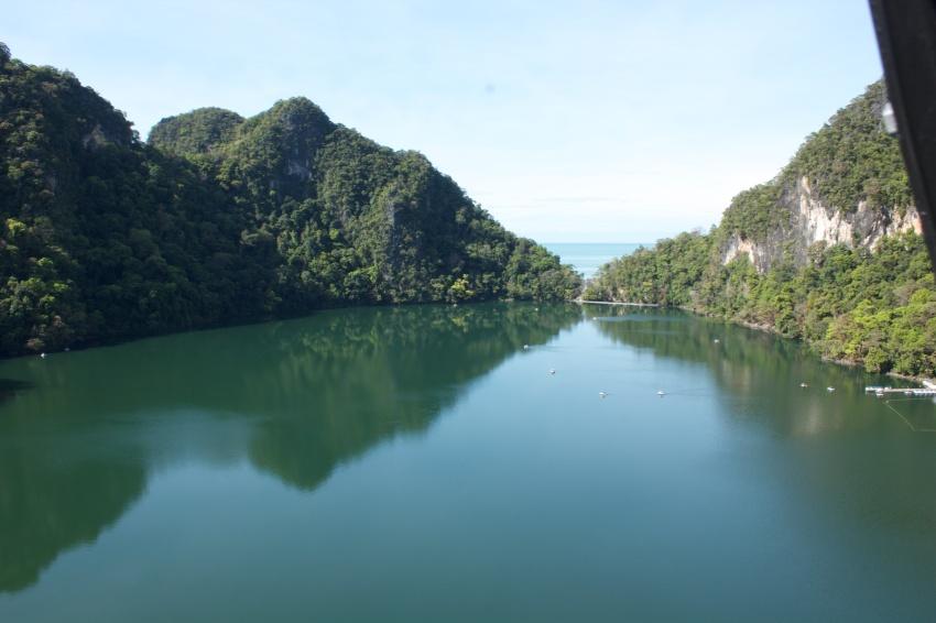 Freshwater lake in the sea